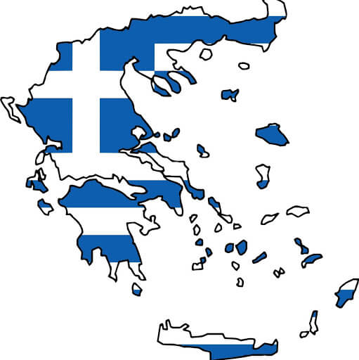 Zastava grčke na mapi grčke